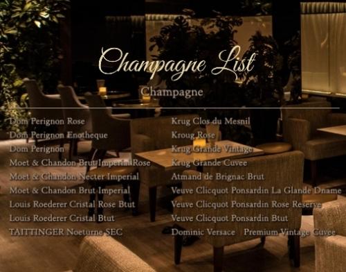 恵比寿ラウンジ、ガストンのシャンパンメニュー表