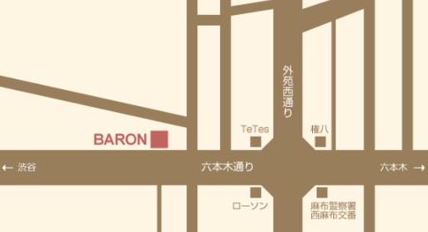 西麻布ラウンジ、バロンのmap