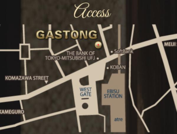 恵比寿ガストンへのアクセスmap