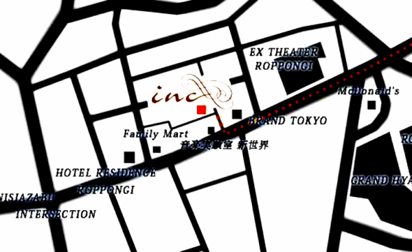 西麻布ラウンジ『インク』のお店MAP