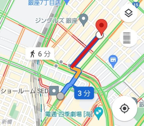 新橋駅から、銀座キャバクラ「クロネコ黒猫」への最短経路