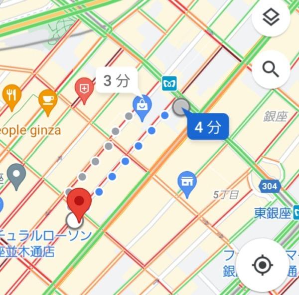 銀座駅から、銀座キャバクラ「クロネコ黒猫」への最短経路