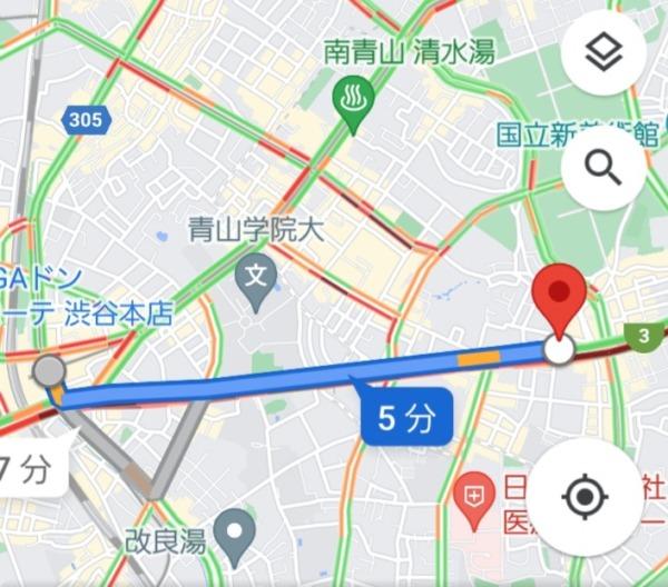 渋谷駅から西麻布交差点への最短経路MAP
