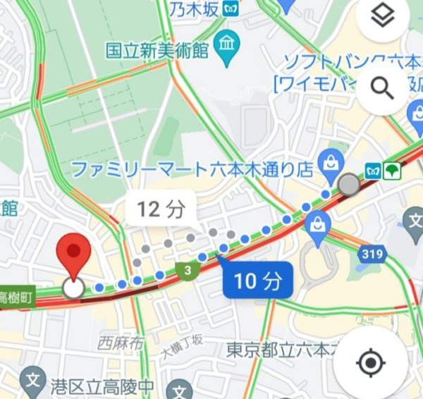 六本木駅から西麻布交差点への最短経路MAP